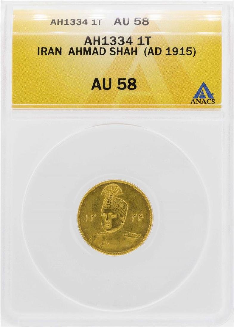 AH1334 (1915) Iran Toman Ahmad Shah Gold Coin ANACS