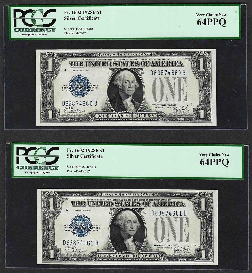 (2) Consecutive 1928B $1 Funnyback Silver Certificate