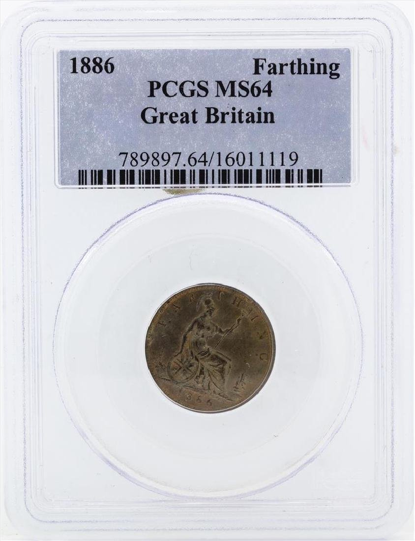 1886 Great Britain Farthing Coin PCGS MS64
