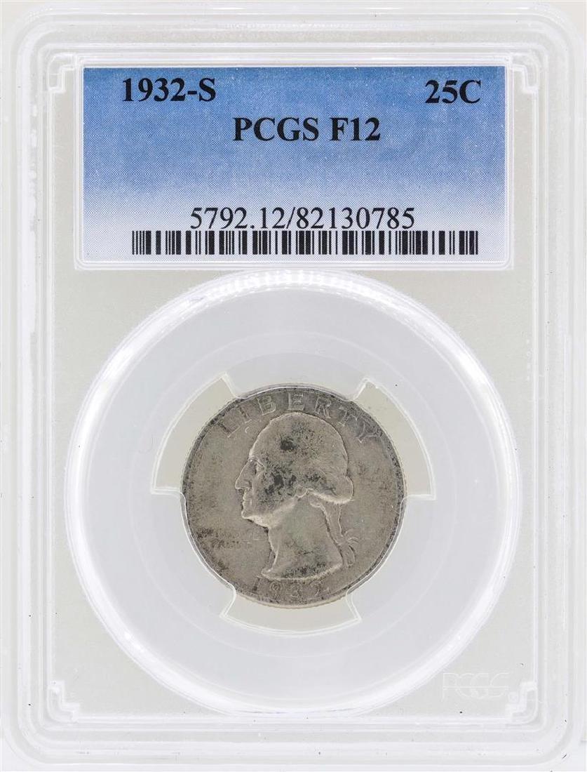 1932-S Washington Quarter Silver Coin PCGS F12