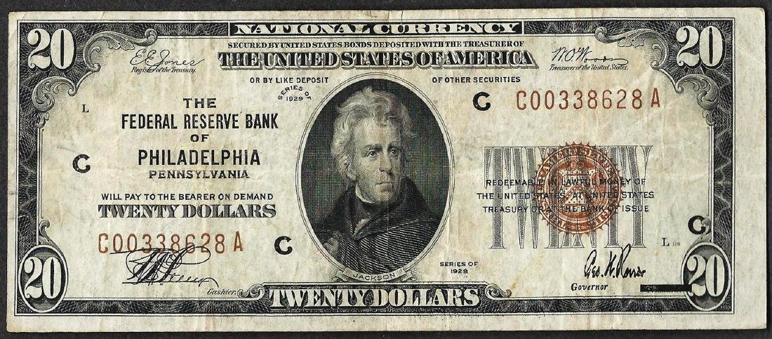 1929 $20 Federal Reserve Bank Note Philadelphia, PA