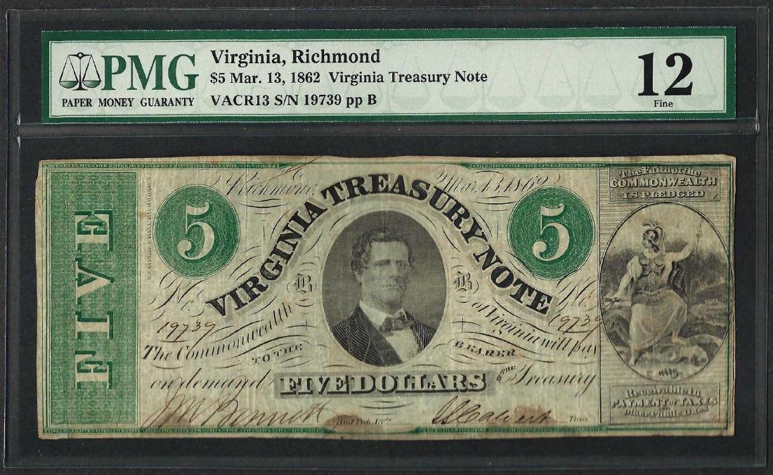 1862 $5 Virginia Treasury Note Obsolete Note PMG Fine