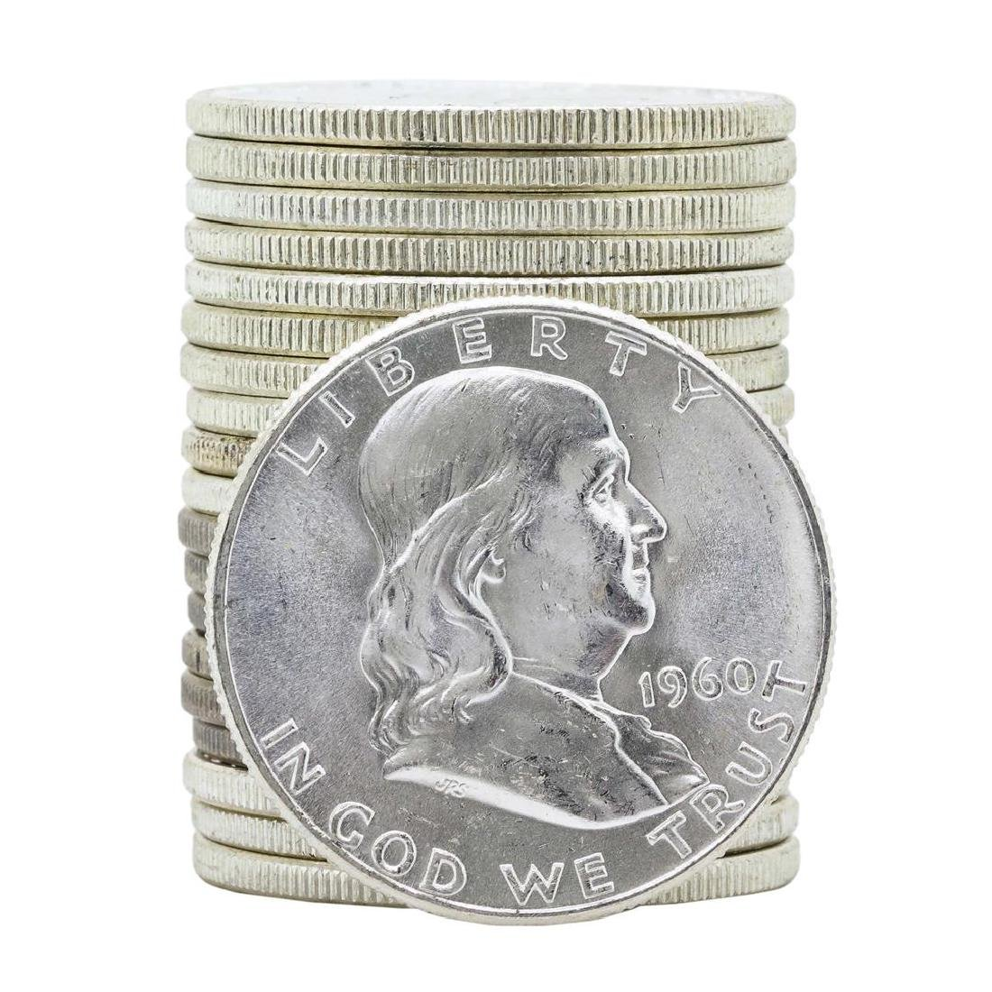 Roll of (20) 1960 Brilliant Uncirculated Franklin Half
