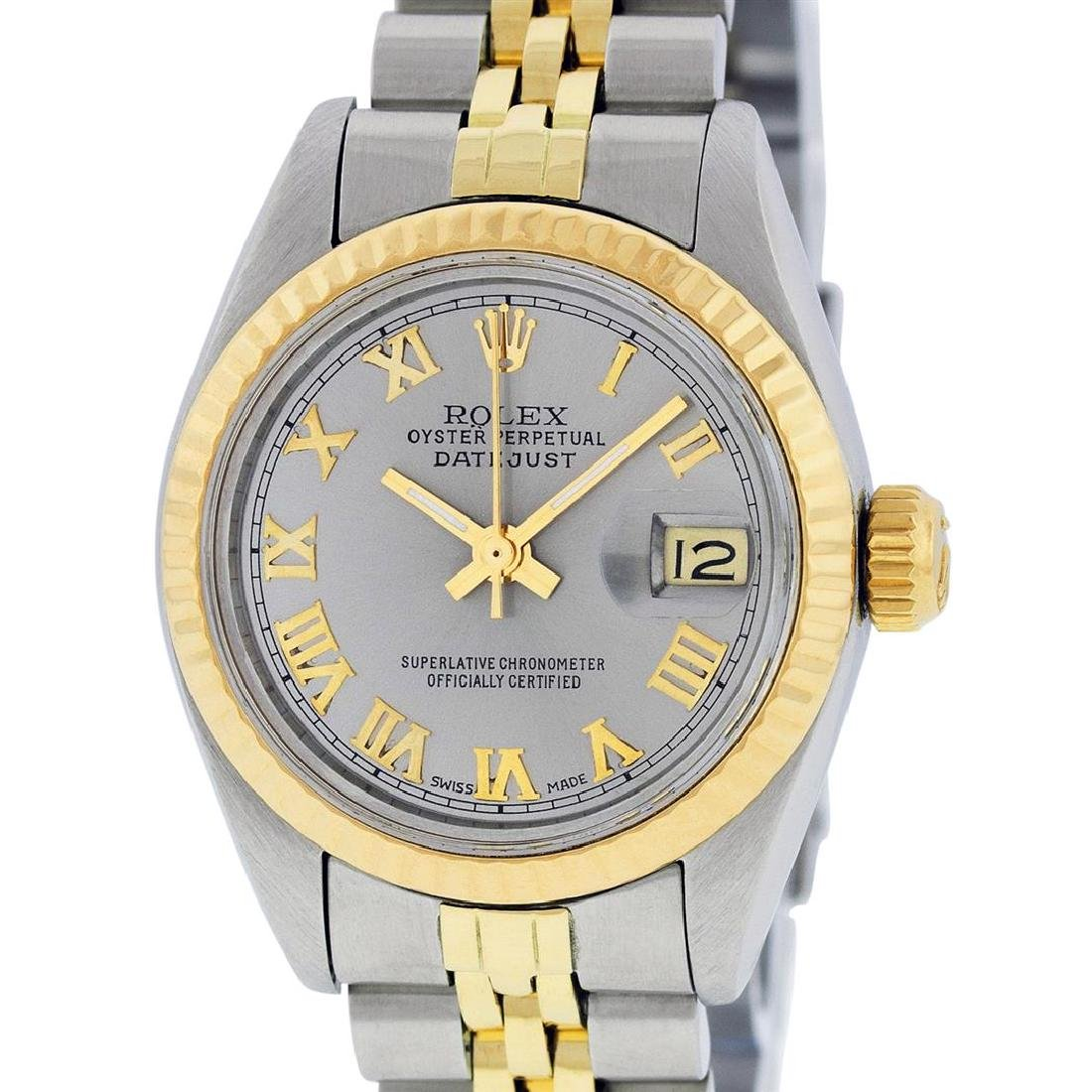 Rolex Ladies Two Tone 14K Slate Grey Roman Datejust