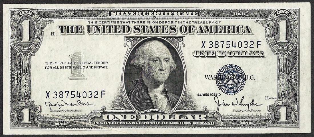 1935D $1 Silver Certificate Note Gutterfold ERROR