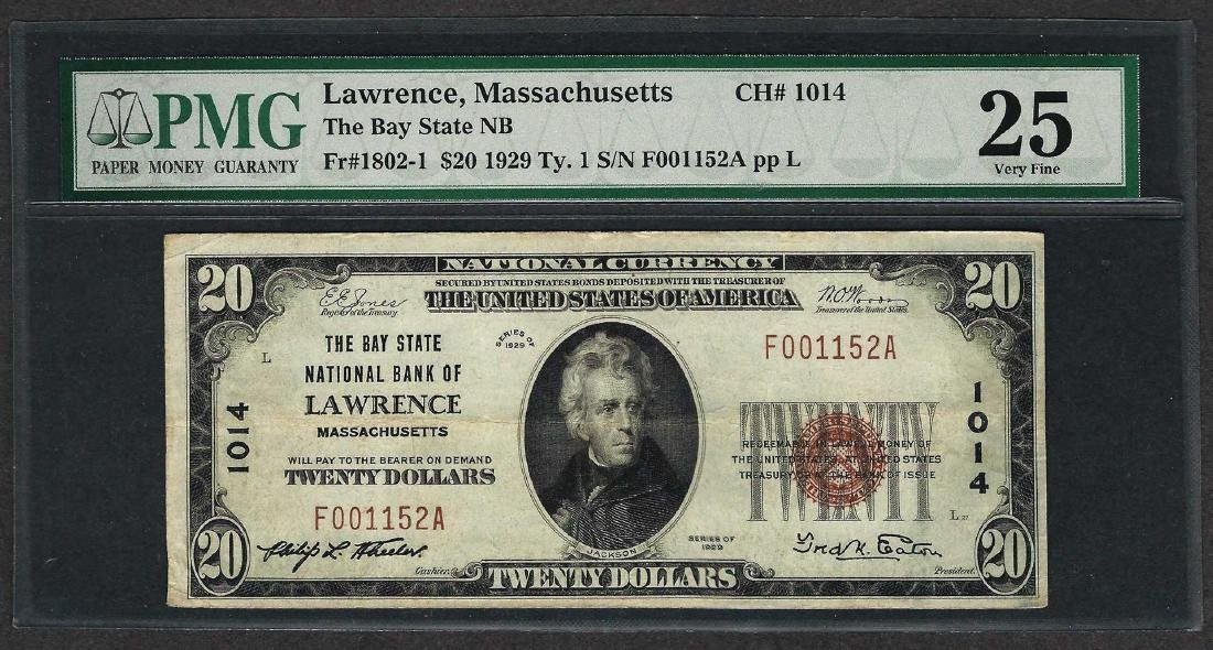 1929 $20 National Currency Note Lawrence, Massachusetts