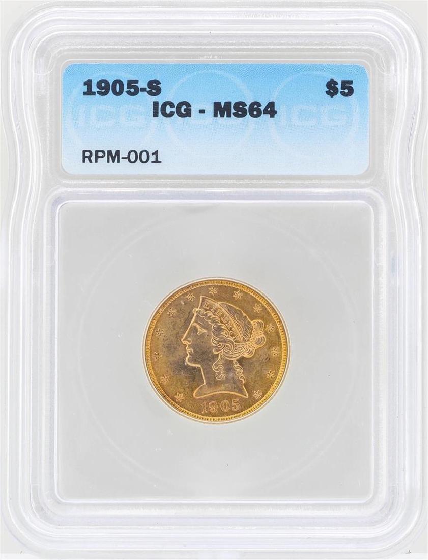 1905-S $5 Liberty Head Half Eagle Gold Coin ICG MS64