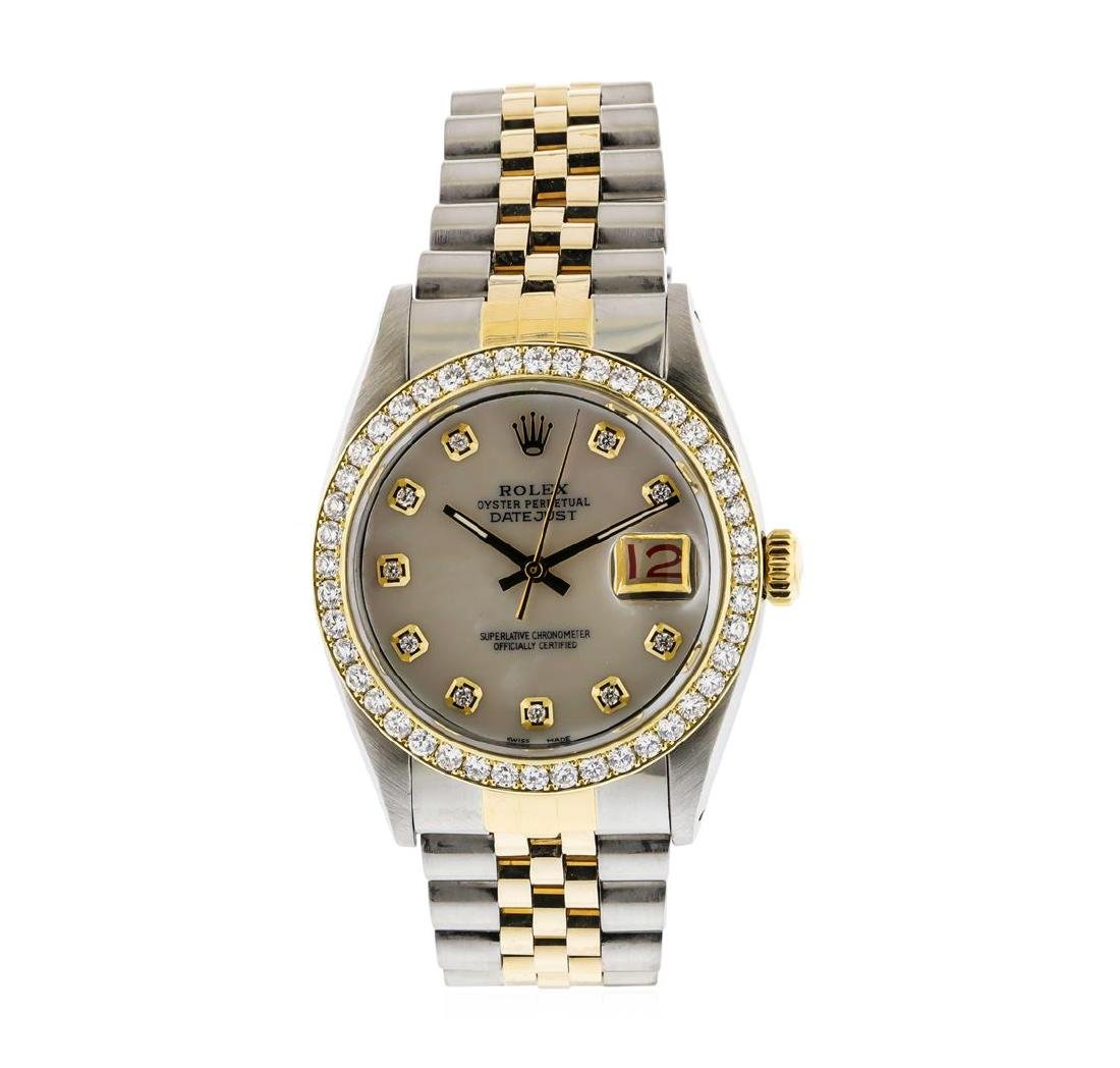 Mens Two Tone Rolex Datejust Wristwatch with MOP