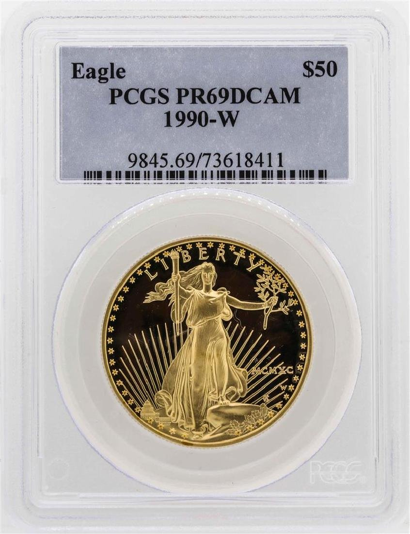 1990-W $50 American Gold Eagle Proof Coin PCGS PR69DCAM