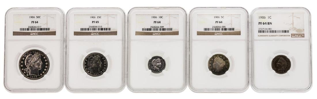 1906 (5) Coin Proof Set NGC Graded PF64/PF65