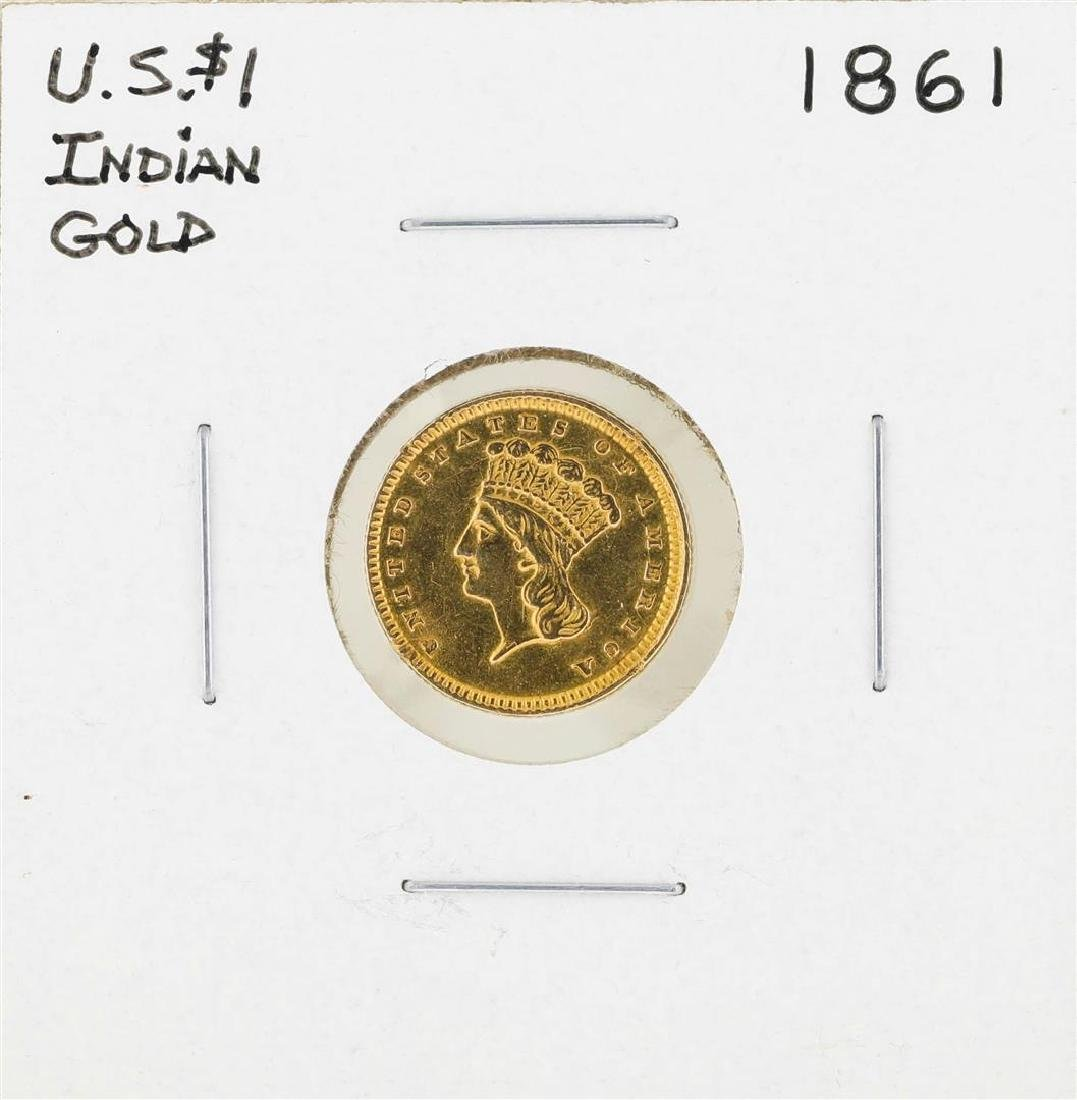 1861 $1 Indian Princess Head Gold Dollar Coin