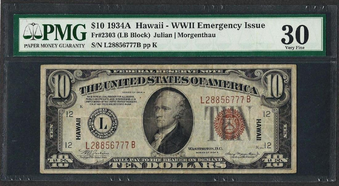 1934A $10 Hawaii Federal Reserve WWII Emergency Note