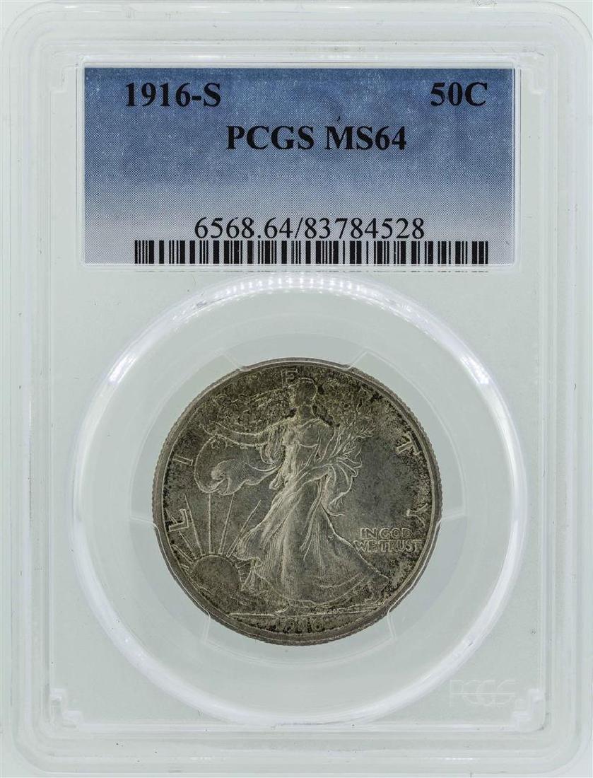 1916-S Walking Liberty Half Dollar Coin PCGS MS64