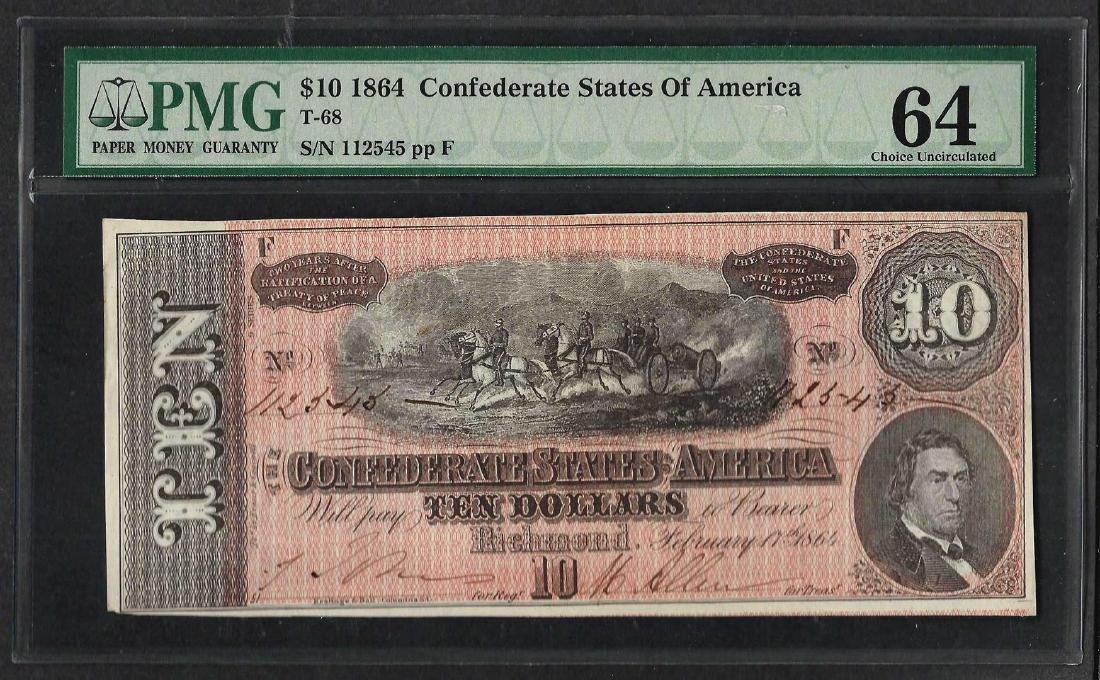1864 $10 Confederate States of America Note T-68 PMG