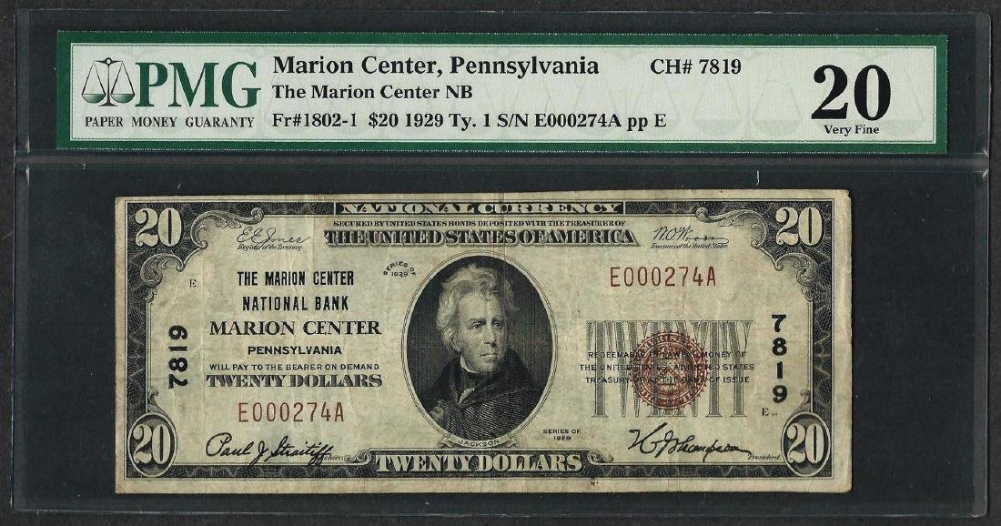 1929 $20 National Currency Note Marion Center, PA CH#