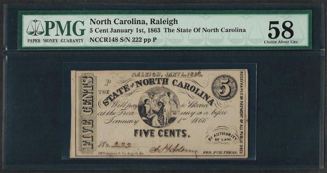1863 5 Cent State of North Carolina Obsolete Note PMG