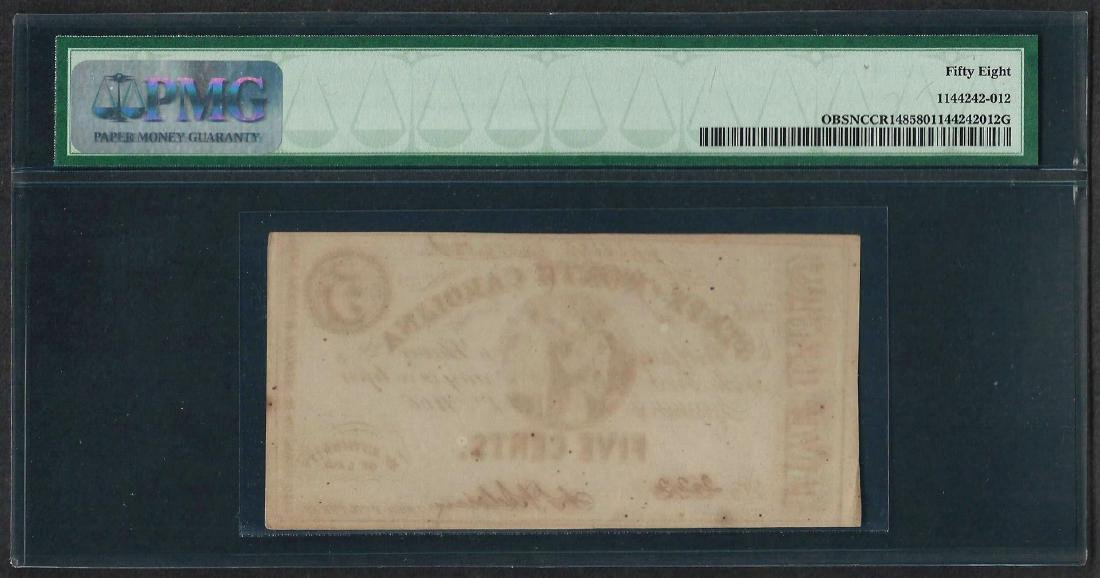1863 5 Cent State of North Carolina Obsolete Note PMG - 2