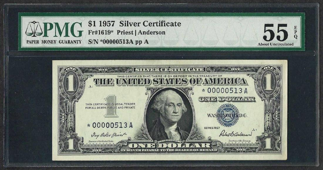1957 $1 Silver Certificate STAR Note PMG About