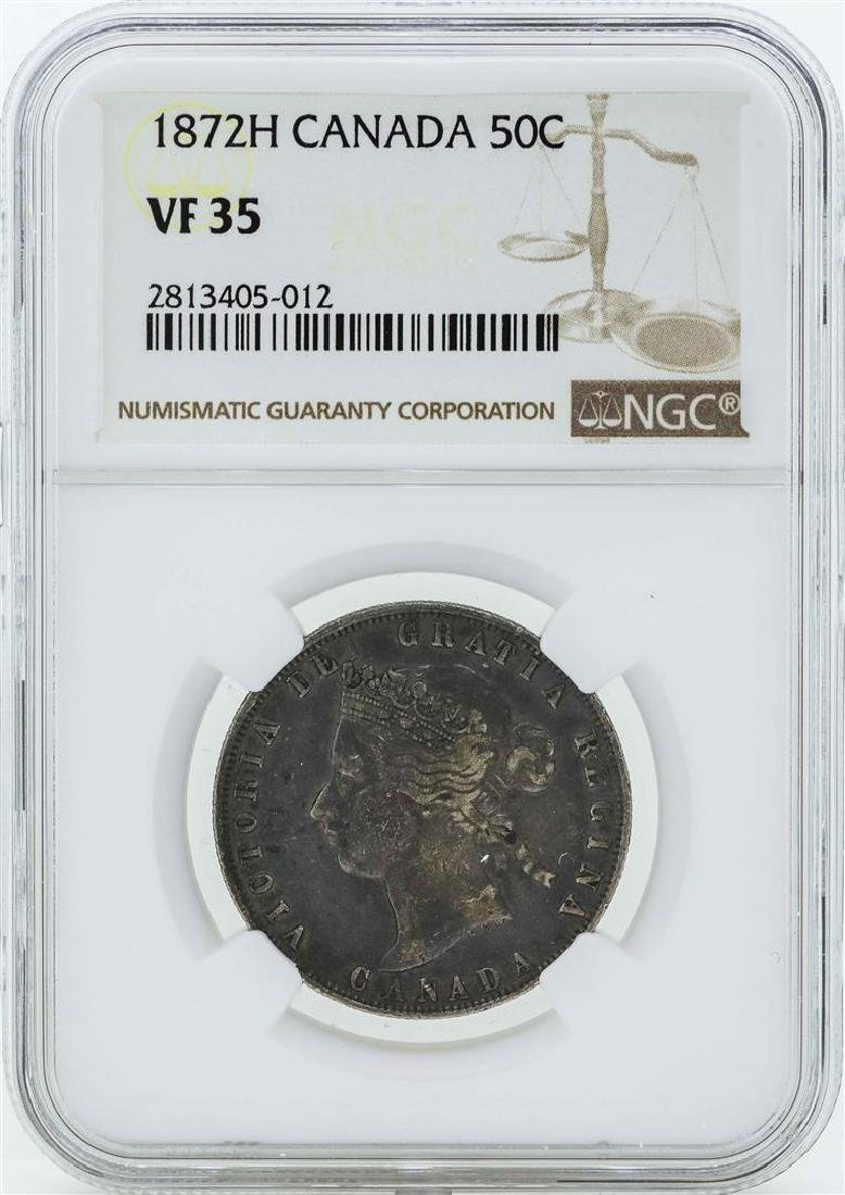 1872H Canada 50 Cents Coin NGC VF35