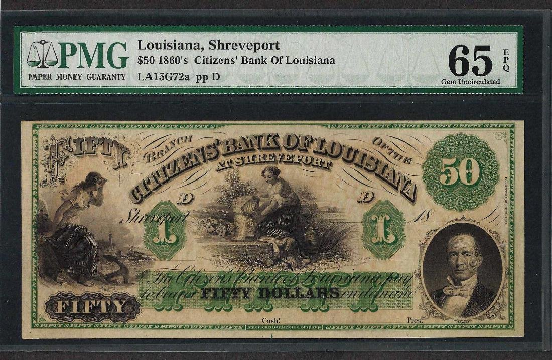 1860's $50 Citizens Bank of Louisiana Obsolete Note PMG
