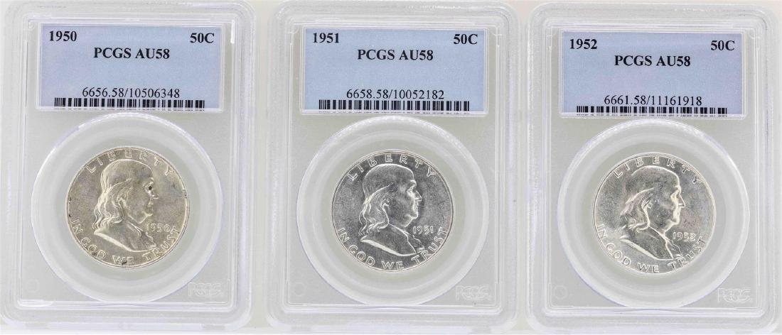 Set of 1950-1952 Franklin Half Dollar Coins NGC AU58