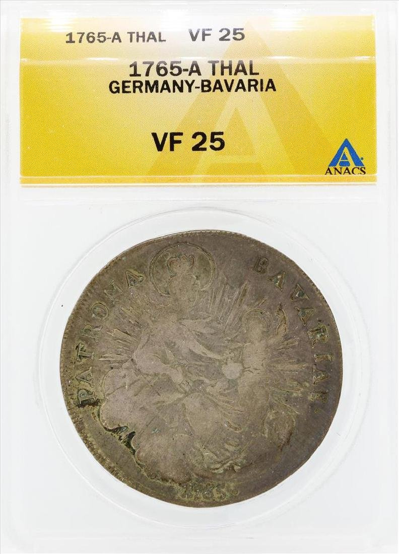 1765-A Thal Germany Bavaria Coin ANACS VF25