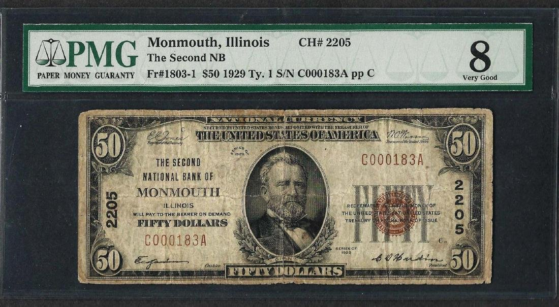 1929 $50 National Currency Note Monmouth, IL CH# 2205