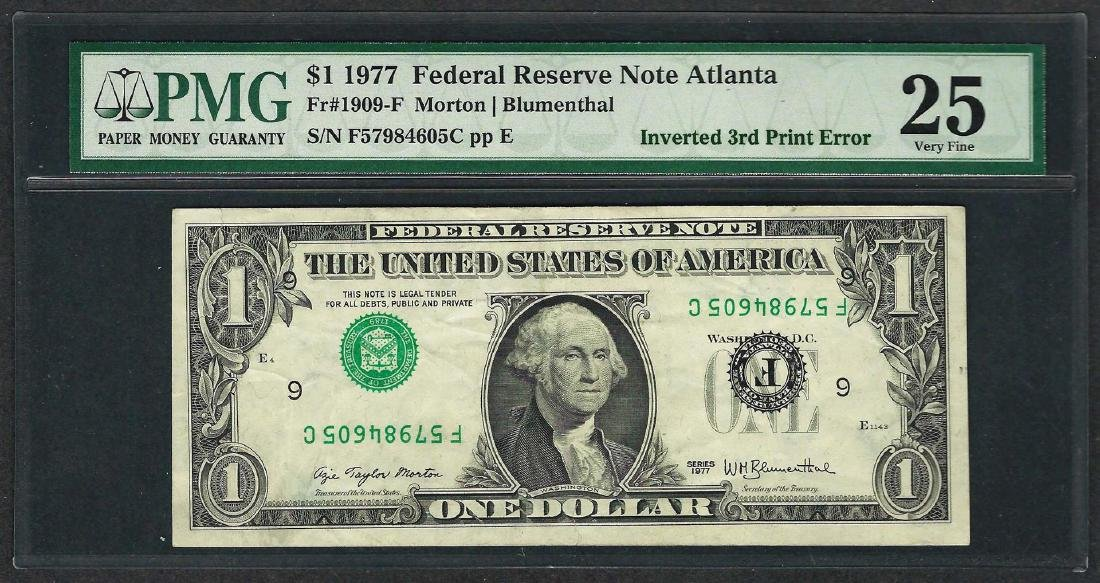 1977 $1 Federal Reserve Note ERROR Inverted 3rd Print
