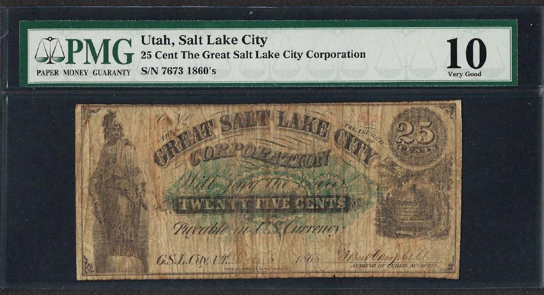 1866 25 Cent The Great Salt Lake City Corporation