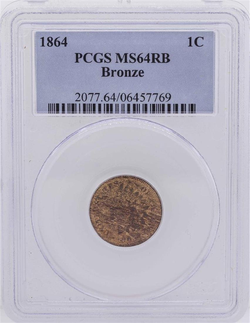 1864 Bronze Indian Head Penny Coin PCGS MS64RB