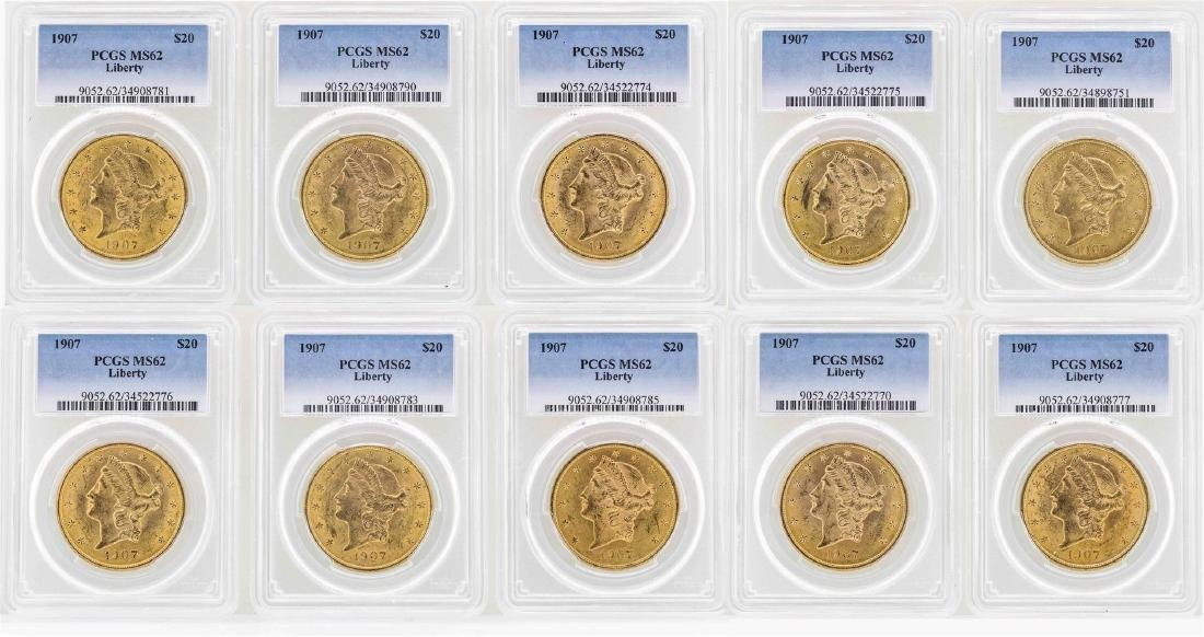 Lot of (10) 1907 $20 Liberty Head Double Eagle Gold