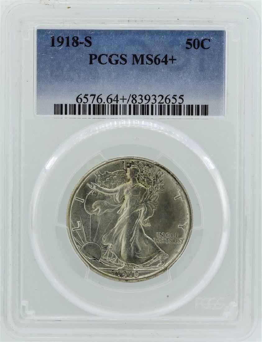 1918-S Walking Liberty Half Dollar Coin PCGS MS64+