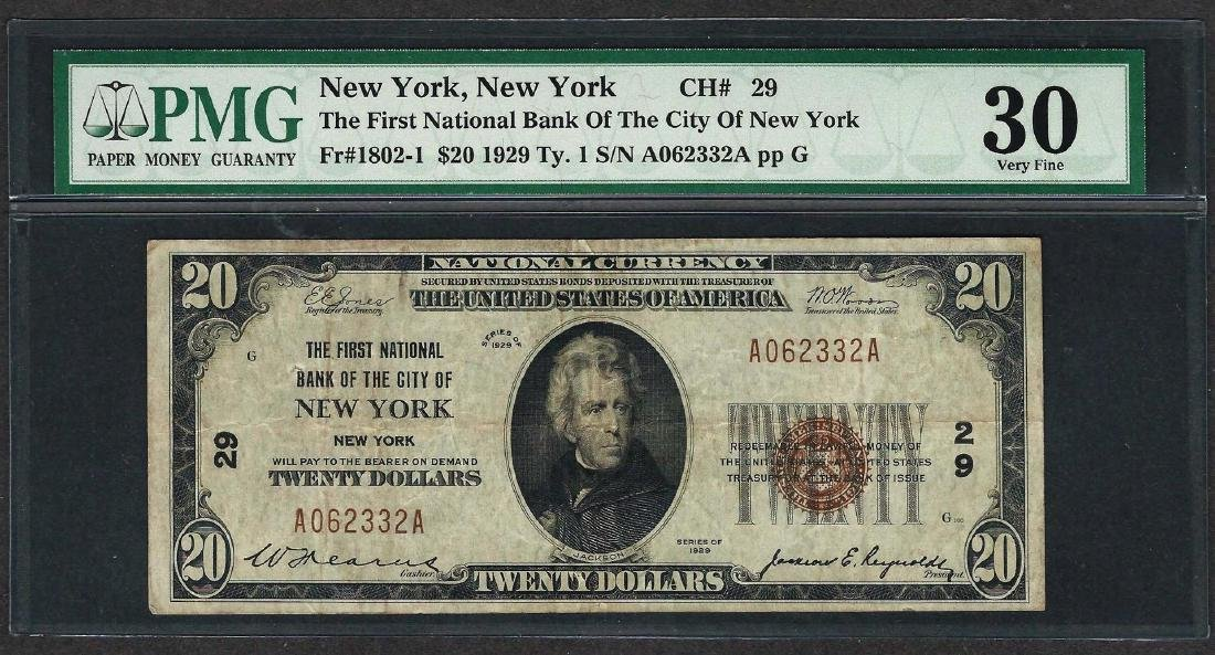 1929 $20 National Currency Note New York, New York CH#