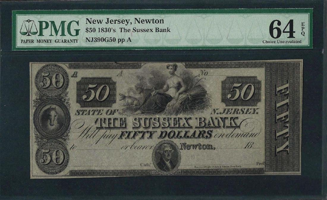 1830's $50 The Sussex Bank Obsolete Note PMG Choice