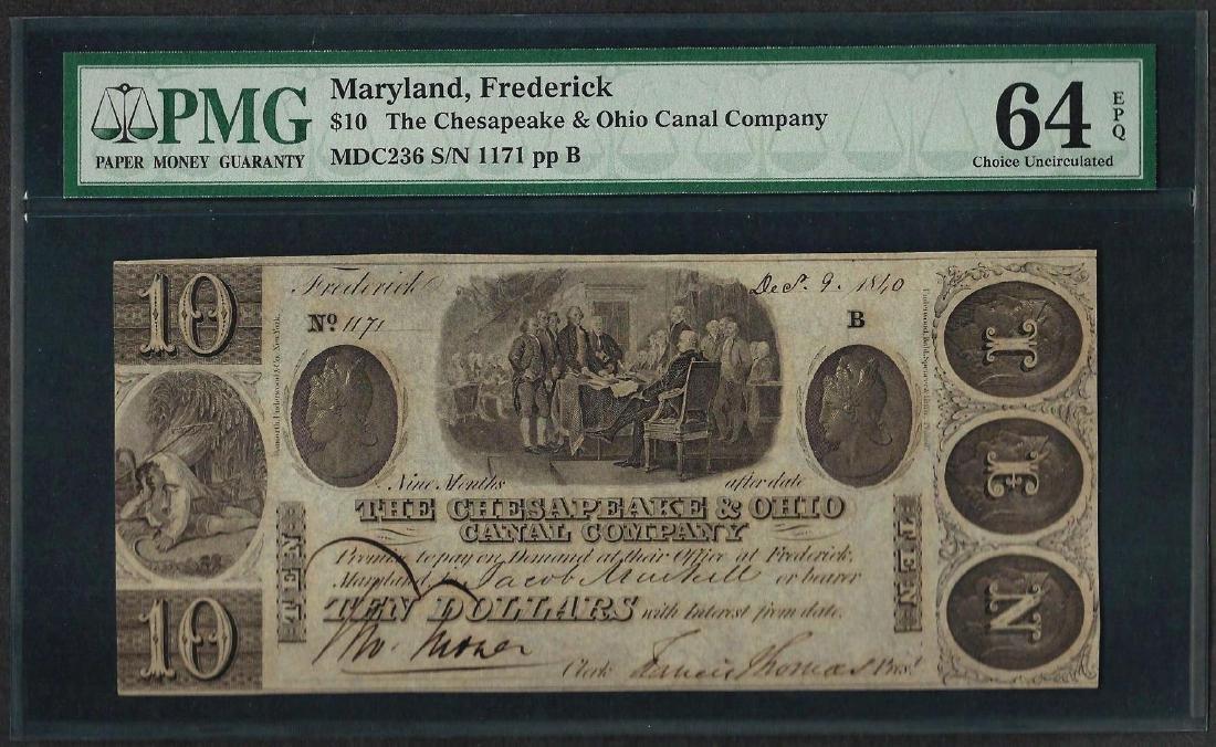 1800's $10 Chesapeake & Ohio Canal Company Obsolete