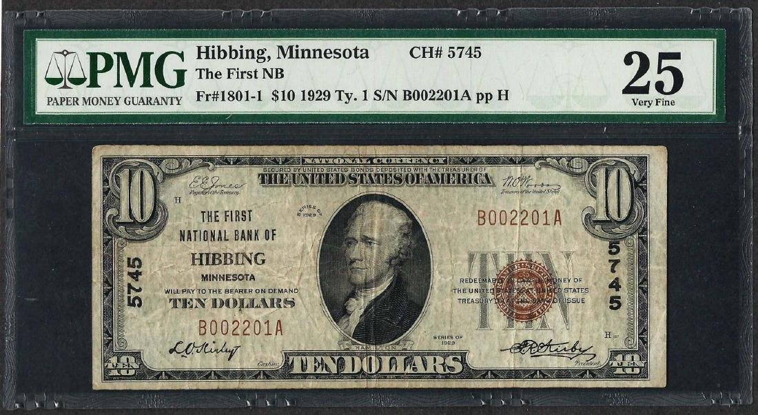 1929 $10 National Currency Note Hibbing, MN CH# 5745