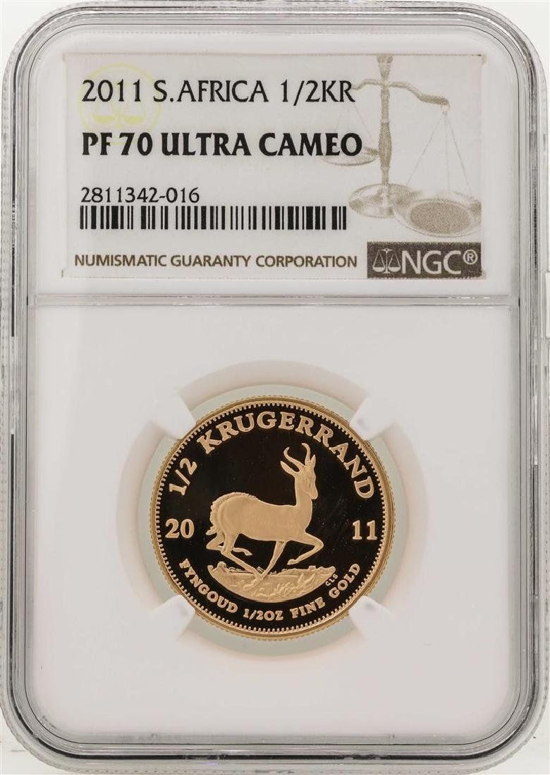 2011 South Africa 1/2 Krugerrand Gold Coin NGC PF70