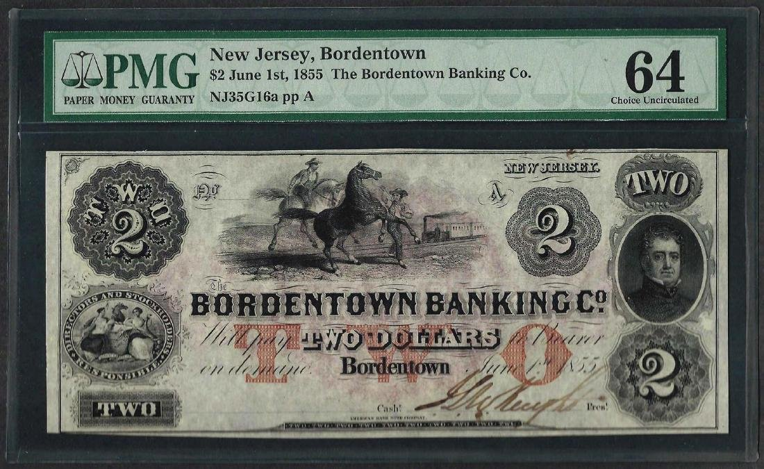 1855 $2 The Bordentown Banking Co. Obsolete Note PMG