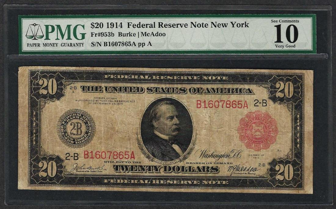 1914 $20 Federal Reserve Note Fr.953b PMG Very Good 10