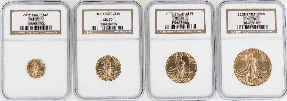 Set of (4) 2003 American Gold Eagle Coins NGC MS70