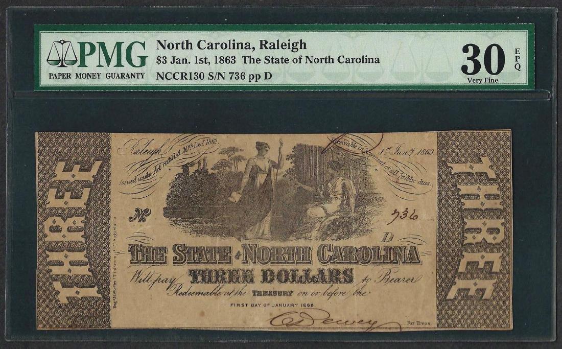 1863 $3 The State of North Carolina Obsolete Note PMG