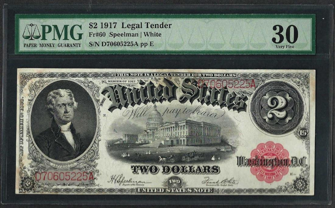 1917 $2 Legal Tender Note Fr.60 PMG Very Fine 30EPQ