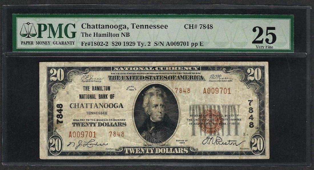 1929 $20 National Currency Note Chattanooga, Tennessee