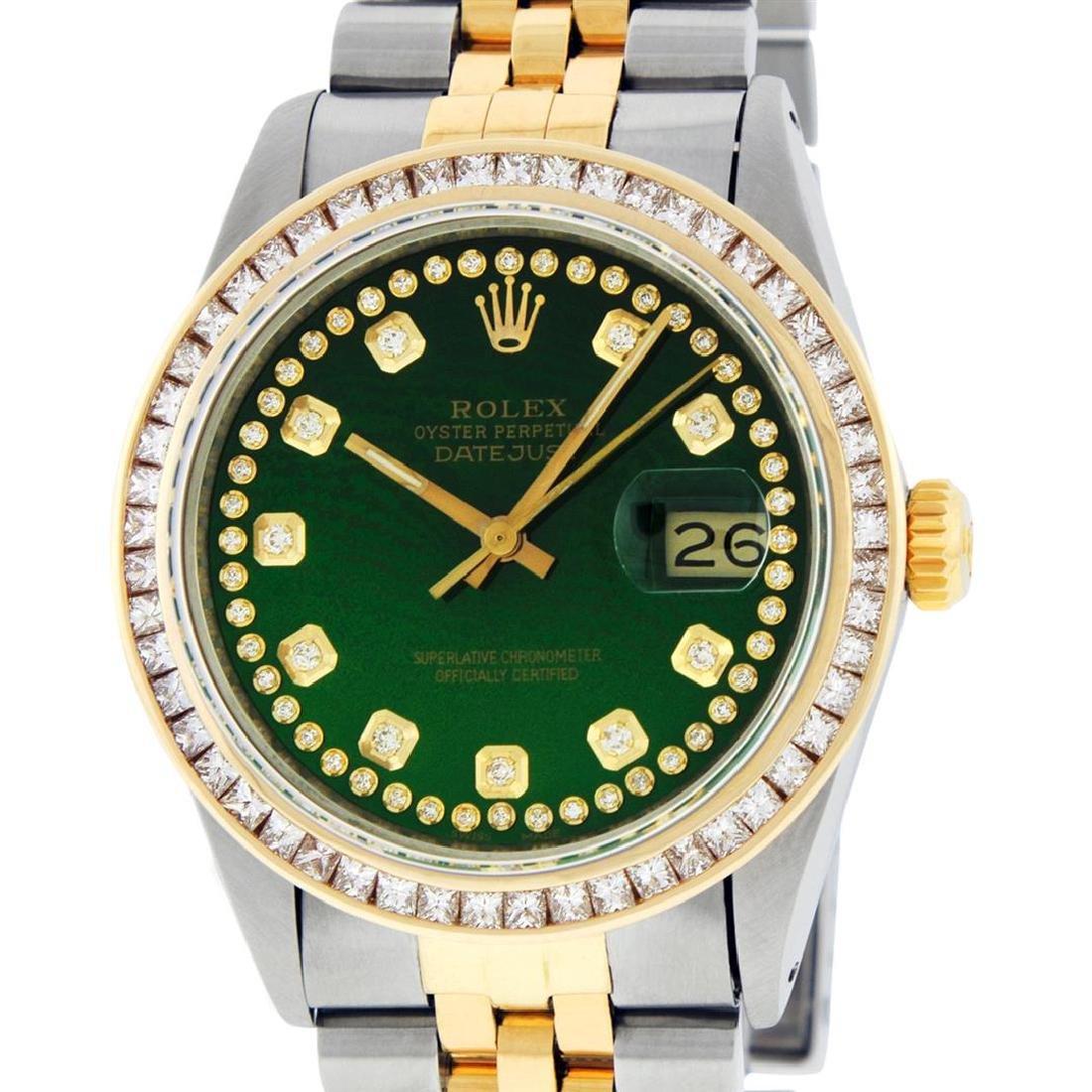 Rolex Men's Two Tone 14K Green Vignette Princess Cut