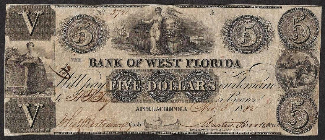 1832 $5 The Bank of West Florida Obsolete Note