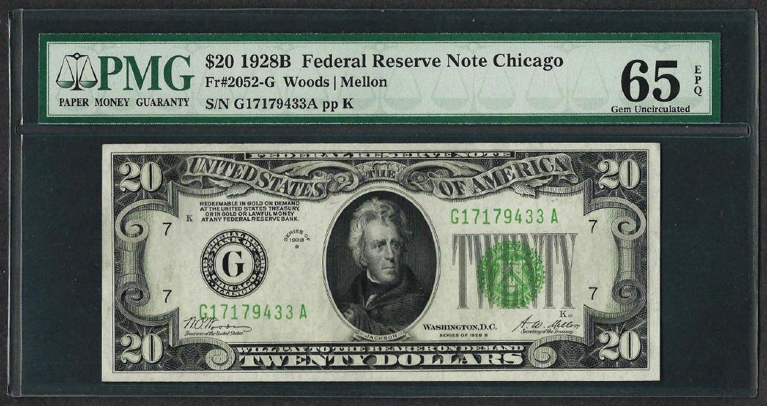 1928B $20 Federal Reserve Note Chicago Fr.2052-G PMG