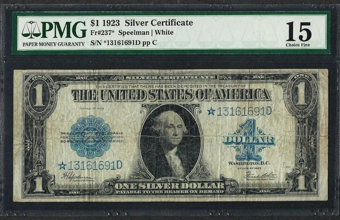 1923 $1 Silver Certificate STAR Note Fr.237* PMG Choice