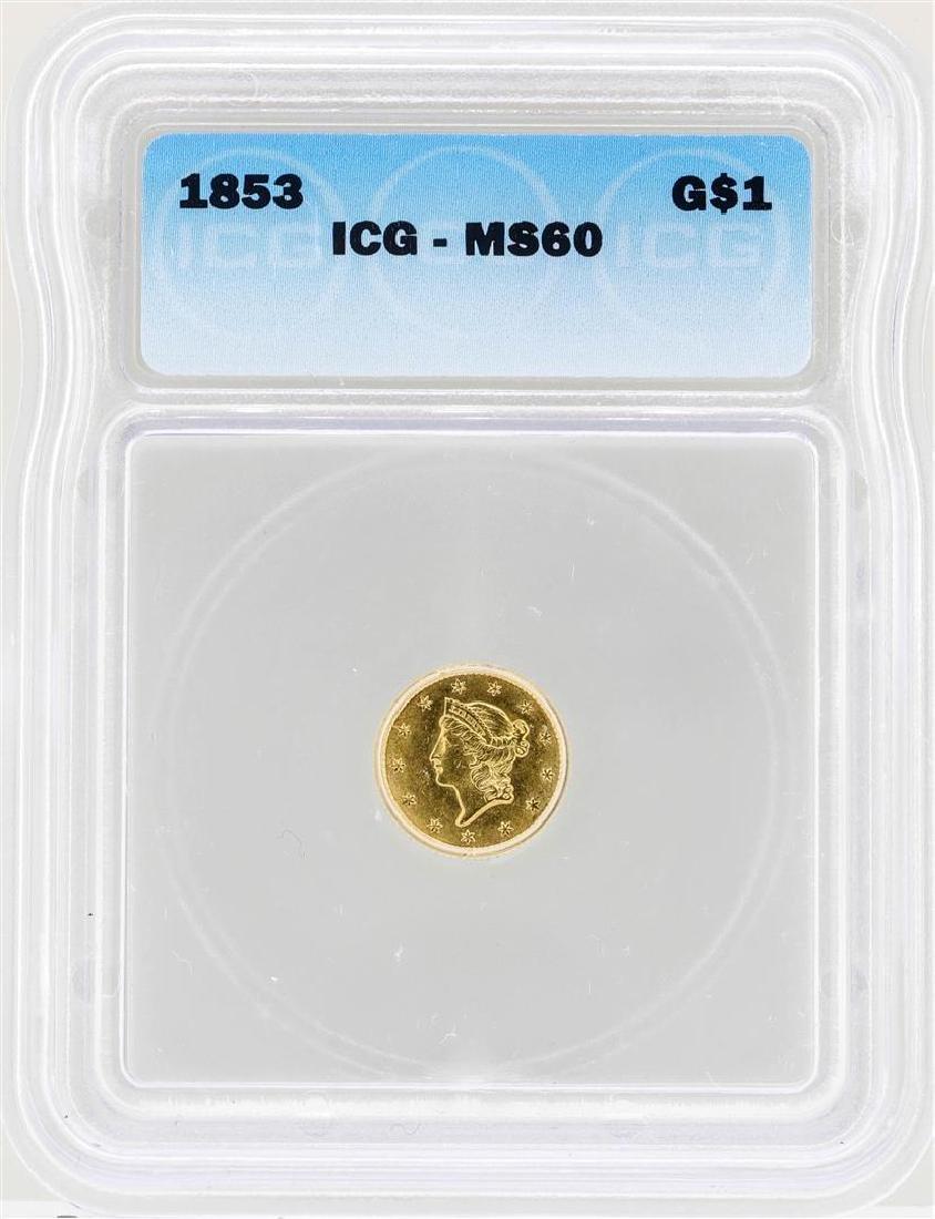 1853 $1 Liberty Head Gold Dollar Coin ICG MS60