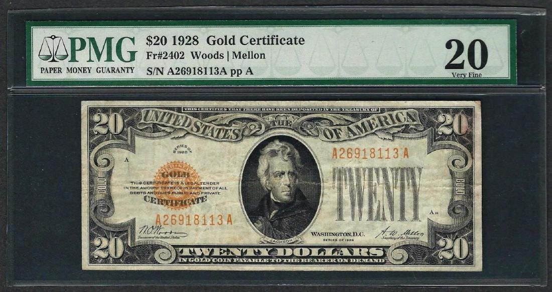 1928 $20 Gold Certificate Note Fr.2402 PMG Very Fine 20