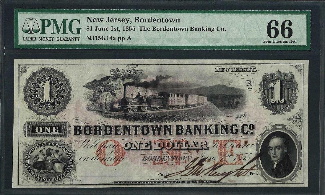 1855 $1 The Bordentown Banking Co. Obsolete Note PMG